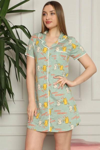 Moda Çizgi - Moda Çizgi Kadın Pamuklu Önden Düğmeli Gecelik 1005