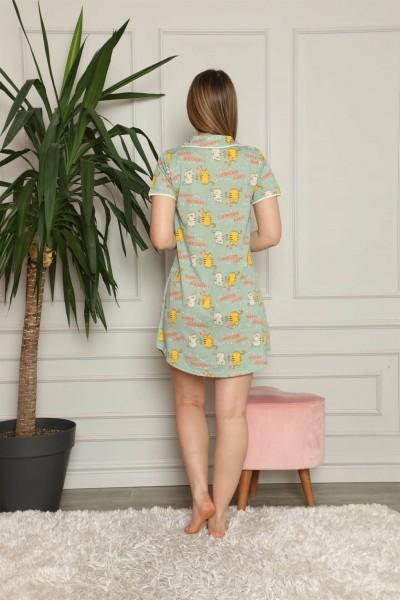 Moda Çizgi Kadın Pamuklu Önden Düğmeli Gecelik 1005 - Thumbnail
