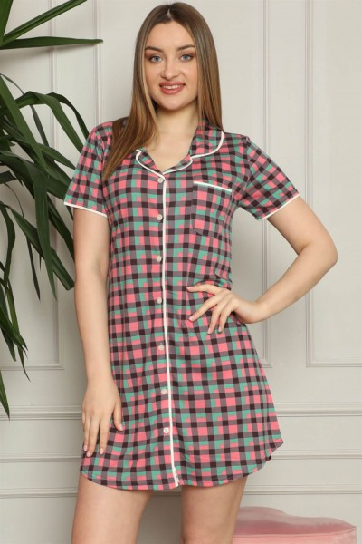 Moda Çizgi - Moda Çizgi Kadın Pamuklu Önden Düğmeli Gecelik 1006