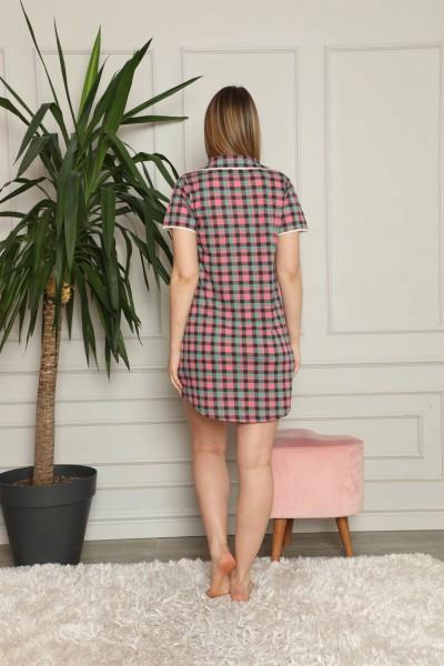 Moda Çizgi Kadın Pamuklu Önden Düğmeli Gecelik 1006 - Thumbnail