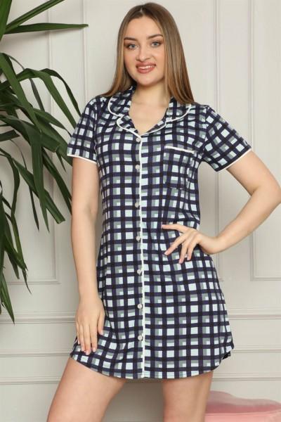 Moda Çizgi - Moda Çizgi Kadın Pamuklu Önden Düğmeli Gecelik 1007