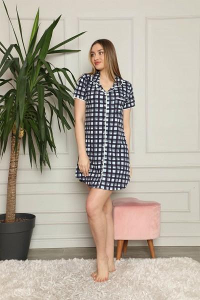 Moda Çizgi Kadın Pamuklu Önden Düğmeli Gecelik 1007 - Thumbnail