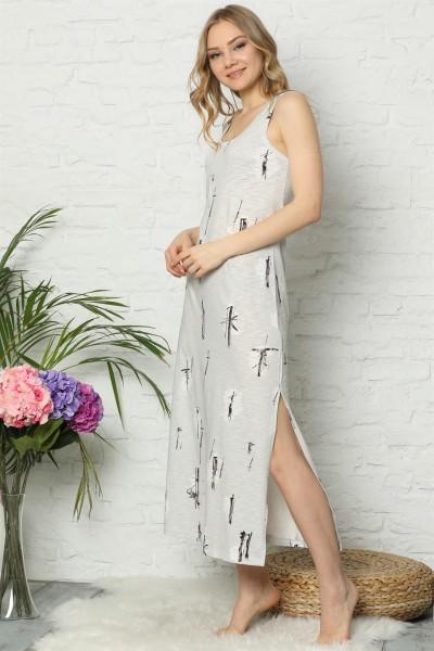 Moda Çizgi - Moda Çizgi Kalın Askılı Gri Penye Uzun Gecelik 928