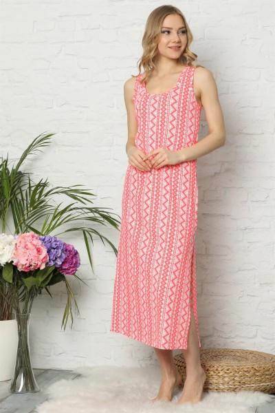 Moda Çizgi - Moda Çizgi Kalın Askılı Somon Penye Uzun Gecelik 923