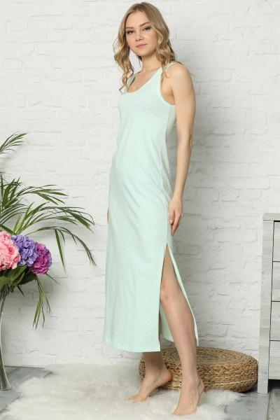 Moda Çizgi - Moda Çizgi Kalın Askılı Su Yeşili Penye Uzun Gecelik 925