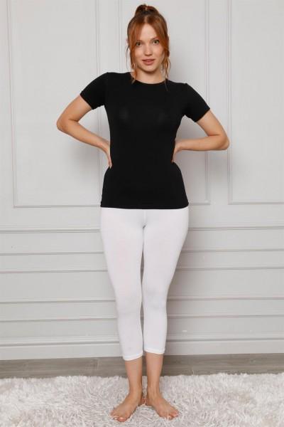 Moda Çizgi - Moda Çizgi Penye Likralı Diz Altı Tayt 5873P