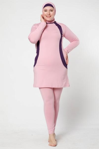 Moda Çizgi - Moda Çizgi Tam Kapalı Taytlı Likralı Büyük Beden Tesettür Mayo 28011