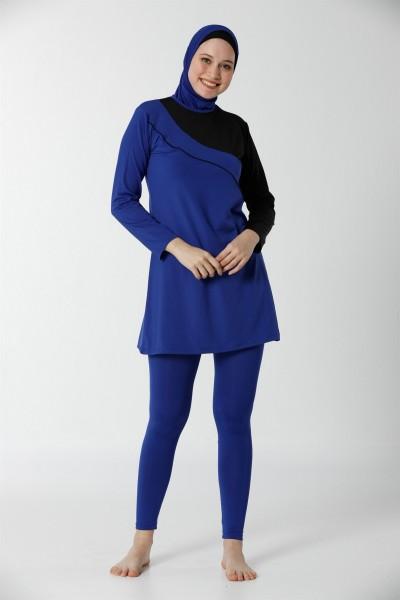 Moda Çizgi - Moda Çizgi Tam Kapalı Taytlı Likralı Tesettür Mayo 28099