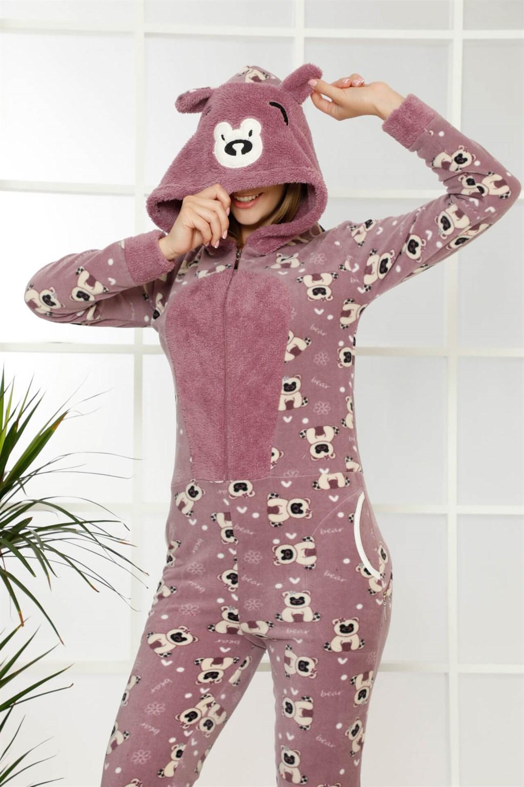 Moda Çizgi Welsoft Polar Kadın Kapşonlu Tulum 8121