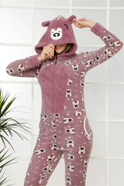Moda Çizgi Welsoft Polar Kadın Kapşonlu Tulum 8121 - Thumbnail