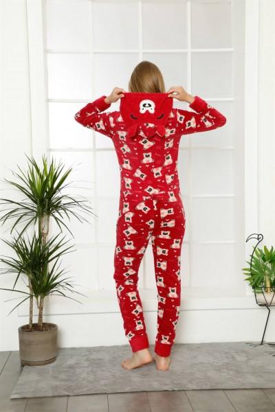 Moda Çizgi Welsoft Polar Kadın Kapşonlu Tulum 8122 - Thumbnail