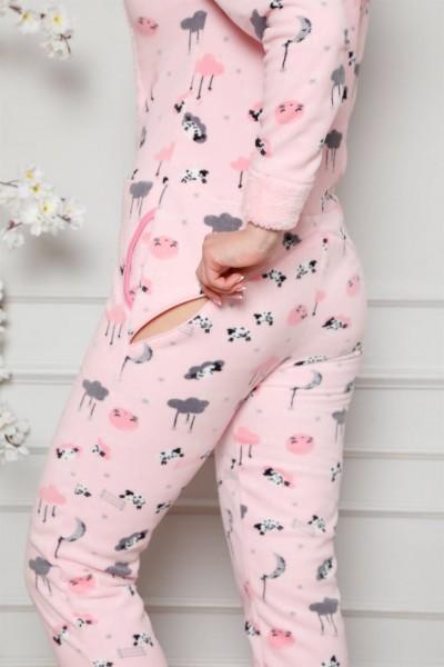 Moda Çizgi Welsoft Polar Kadın Kapşonlu Tulum 8125 - Thumbnail