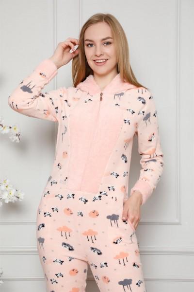 Moda Çizgi - Moda Çizgi Welsoft Polar Kadın Kapşonlu Tulum 8126