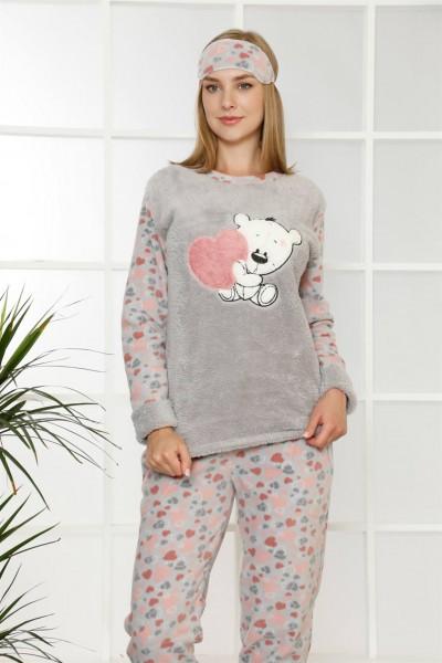 Moda Çizgi - Moda Çizgi Welsoft Polar Kadın Manşetli Pijama Takımı 8402