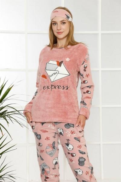 Moda Çizgi - Moda Çizgi Welsoft Polar Kadın Manşetli Pijama Takımı 8404