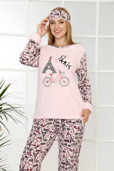 Moda Çizgi - Moda Çizgi Welsoft Polar Kadın Manşetli Pijama Takımı 8408