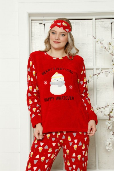 Moda Çizgi - Moda Çizgi Welsoft Polar Kadın Manşetli Pijama Takımı 8411