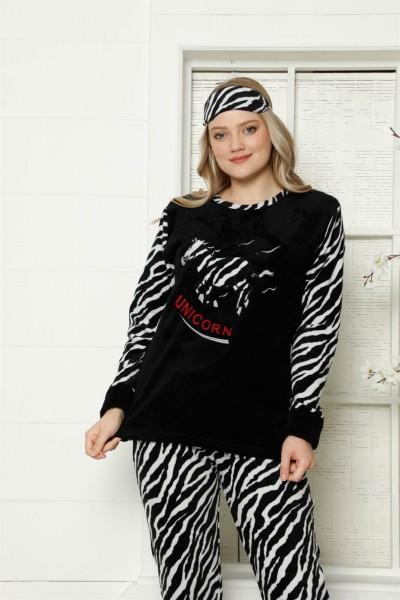 Moda Çizgi - Moda Çizgi Welsoft Polar Kadın Manşetli Pijama Takımı 8414