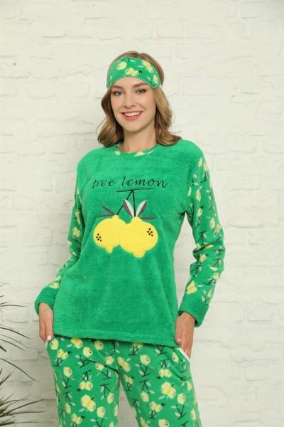 Moda Çizgi - Moda Çizgi Welsoft Polar Kadın Manşetli Pijama Takımı 8424
