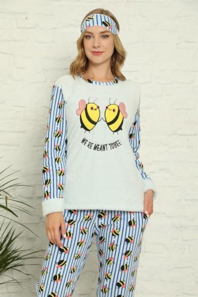 Moda Çizgi - Moda Çizgi Welsoft Polar Kadın Manşetli Pijama Takımı 8425