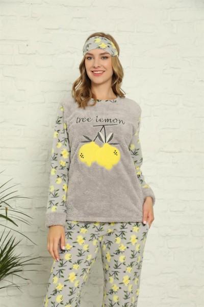Moda Çizgi - Moda Çizgi Welsoft Polar Kadın Manşetli Pijama Takımı 8429
