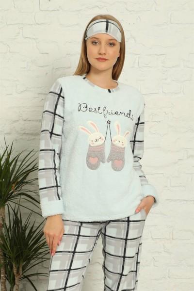 Moda Çizgi Welsoft Polar Kadın Manşetli Pijama Takımı 8437 - Thumbnail