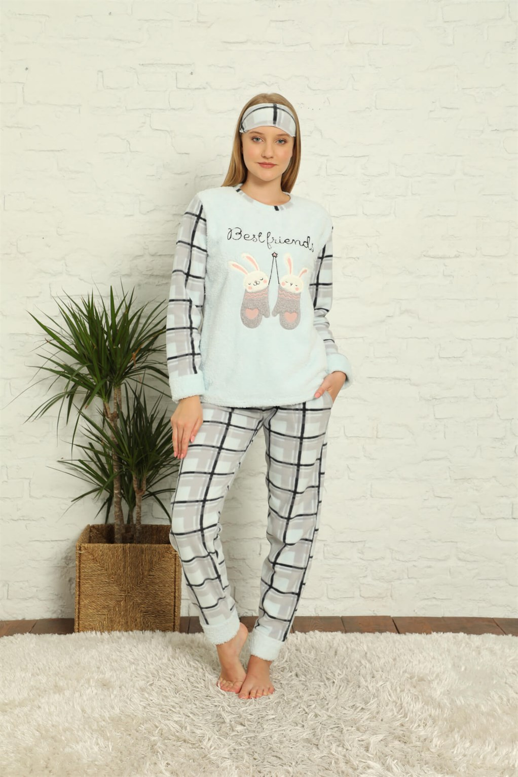 Moda Çizgi Welsoft Polar Kadın Manşetli Pijama Takımı 8437