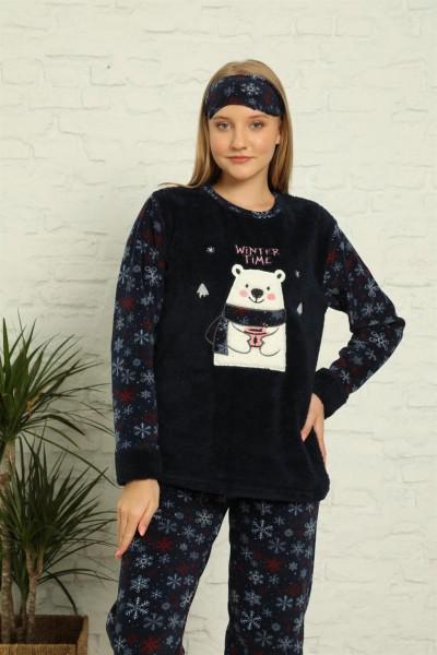 Moda Çizgi - Moda Çizgi Welsoft Polar Kadın Manşetli Pijama Takımı 8441