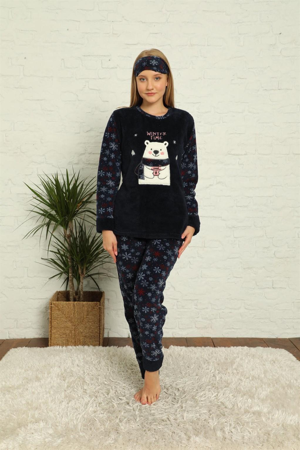 Moda Çizgi Welsoft Polar Kadın Manşetli Pijama Takımı 8441