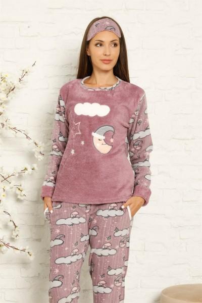 Moda Çizgi - Moda Çizgi Welsoft Polar Kadın Manşetli Pijama Takımı 8446