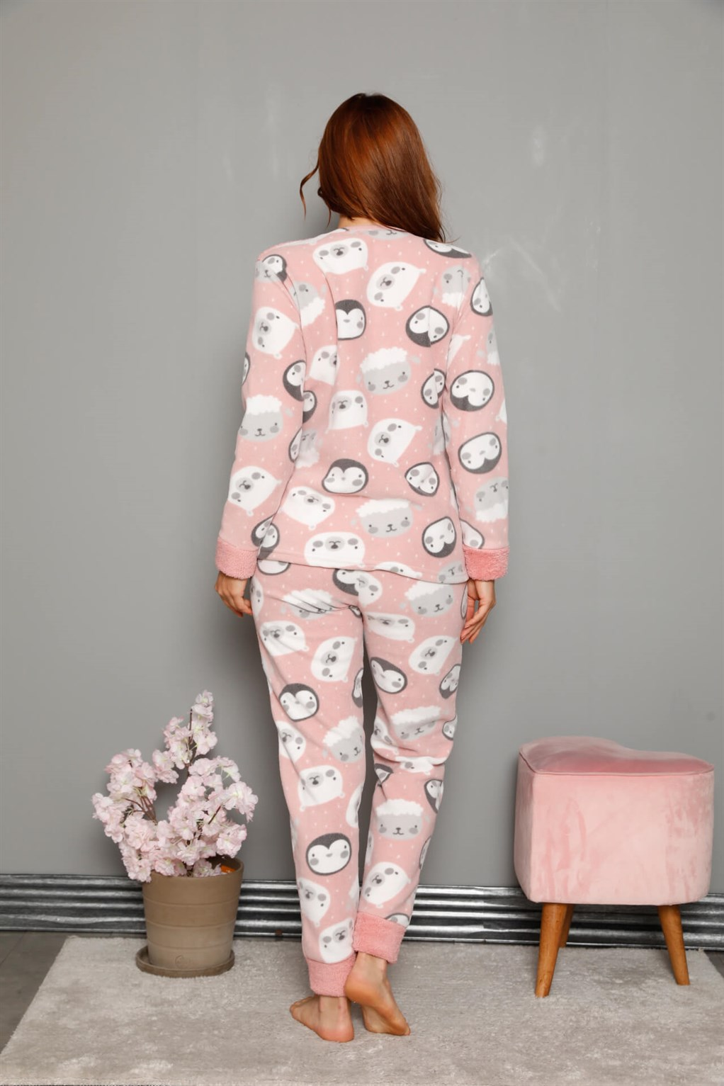 Moda Çizgi Welsoft Polar Kadın Manşetli Pijama Takımı 8446