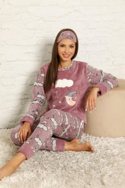 Moda Çizgi Welsoft Polar Kadın Manşetli Pijama Takımı 8446 - Thumbnail