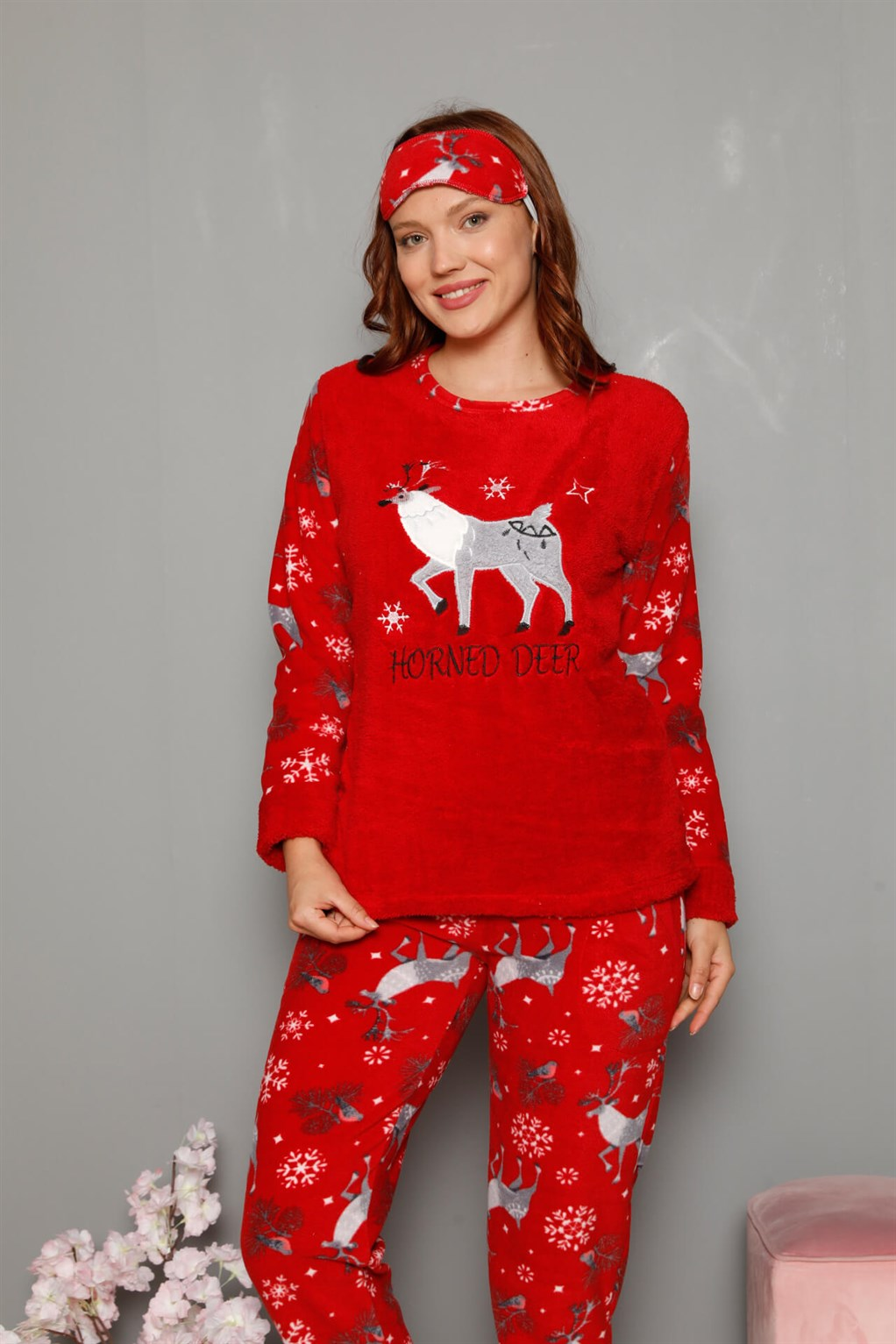 Moda Çizgi Welsoft Polar Kadın Manşetli Pijama Takımı 8449