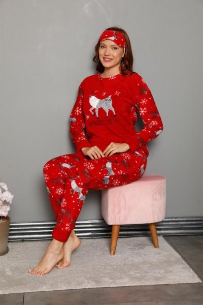 Moda Çizgi Welsoft Polar Kadın Manşetli Pijama Takımı 8449 - Thumbnail