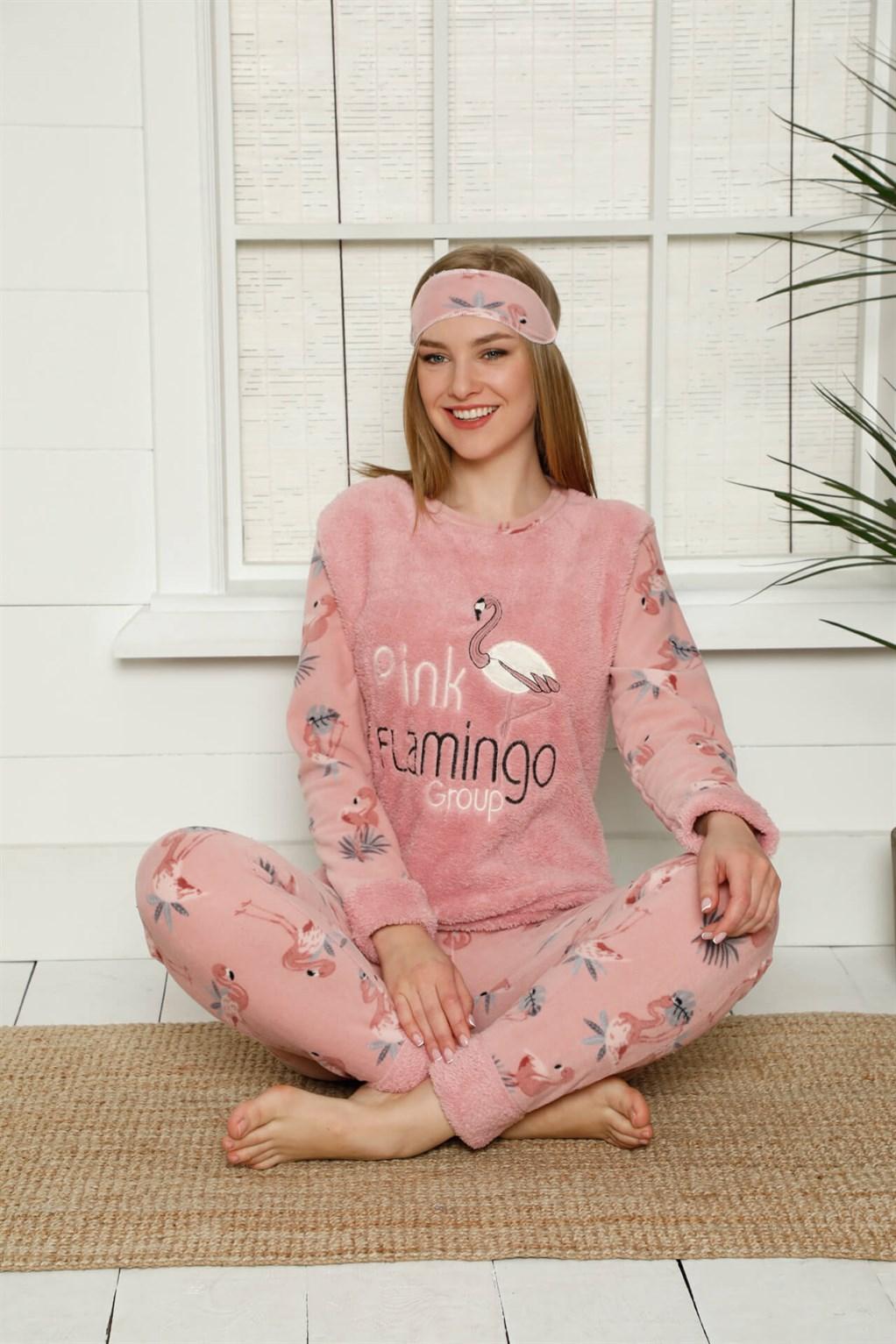 Moda Çizgi Welsoft Polar Kadın Manşetli Pijama Takımı 8453