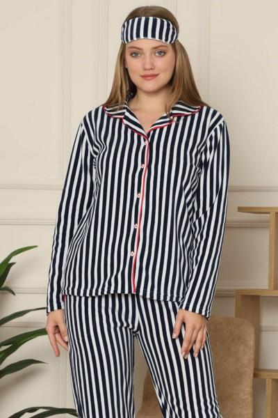 Moda Çizgi - Moda Çizgi Welsoft Polar Önden Düğmeli Kadın Pijama Takımı 8086