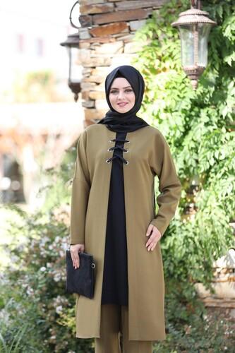 Moda Çizgi - Bağcık Detay İkili Takım mdc 5561 Haki