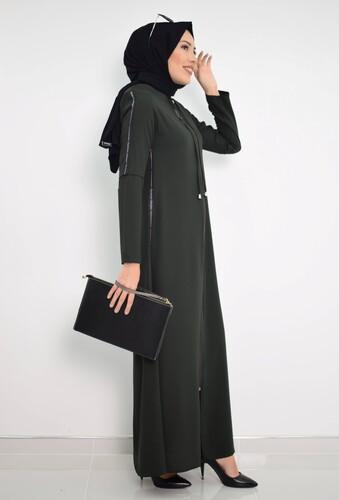 Moda Çizgi - Fermuarlı Ferace Haki MC2014
