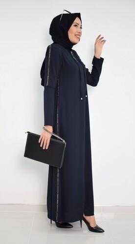 Moda Çizgi - Fermuarlı Ferace Lacivert MC2014