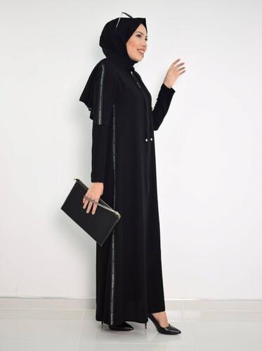 Moda Çizgi - Fermuarlı Ferace Siyah MC2014