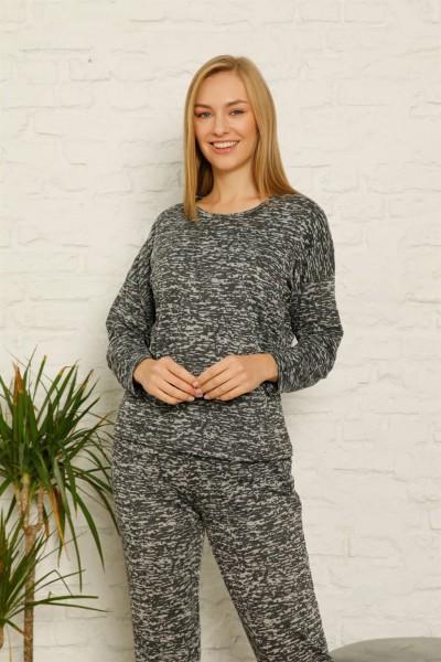 Moda Çizgi - Kadın %100 Pamuk Penye Kışlık Pijama Takımı 3435