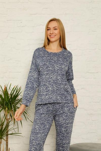 Moda Çizgi - Kadın %100 Pamuk Penye Kışlık Pijama Takımı 3436
