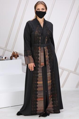 Moda Çizgi - Lazer İşlemeli Küpür Ferace 7118 Siyah