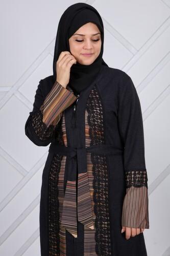 Moda Çizgi - Lazer İşlemeli Küpür Ferace 7119 Siyah