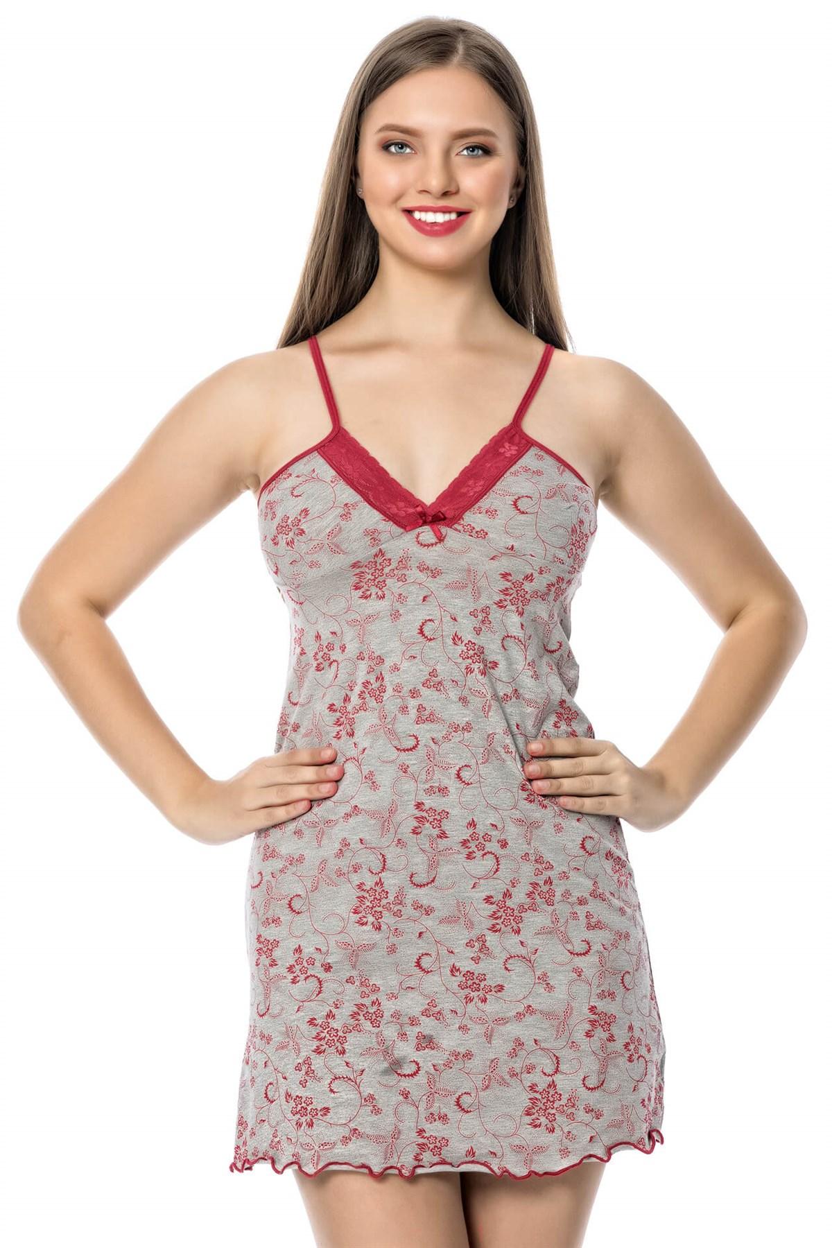 Moda Çizgi Bayan Gri Bordo Gecelik Sabahlık Takım 1104