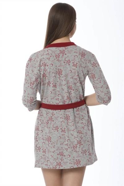 Moda Çizgi Bayan Gri Bordo Gecelik Sabahlık Takım 1104 - Thumbnail
