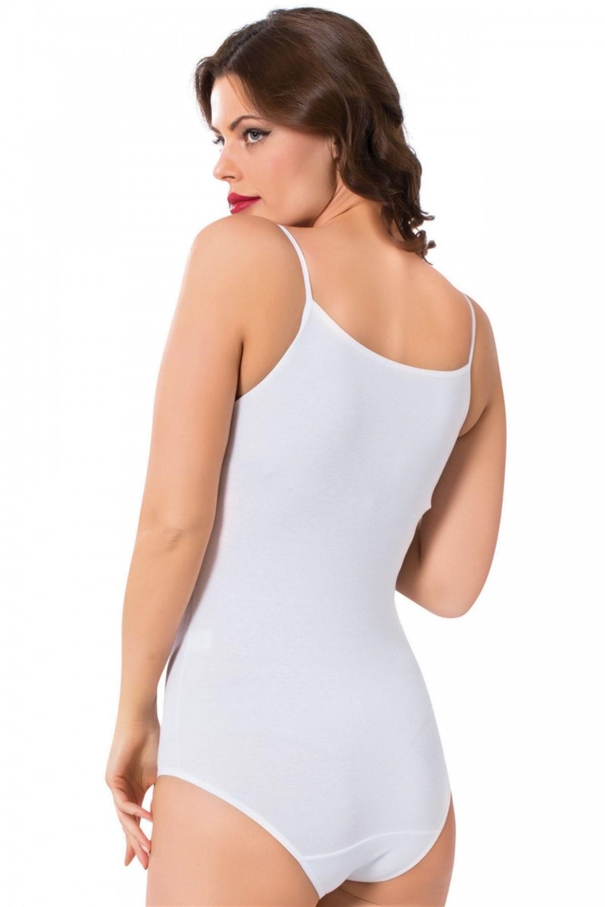 Moda Çizgi Bayan İp Askılı Çıtçıtlı Body 240