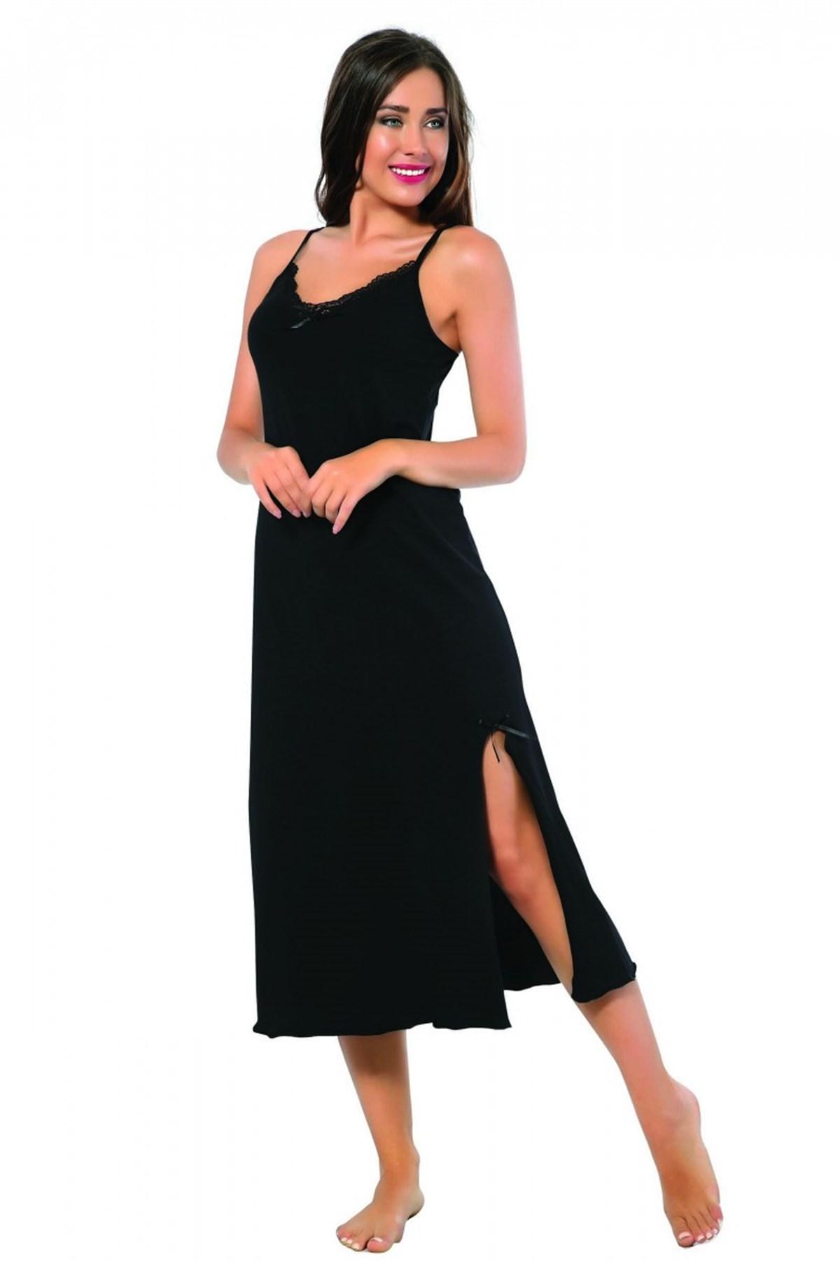 Moda Çizgi Bayan İp Askılı Uzun Gecelik 901