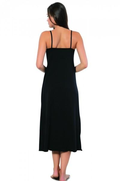 Moda Çizgi Bayan İp Askılı Uzun Gecelik 901 - Thumbnail
