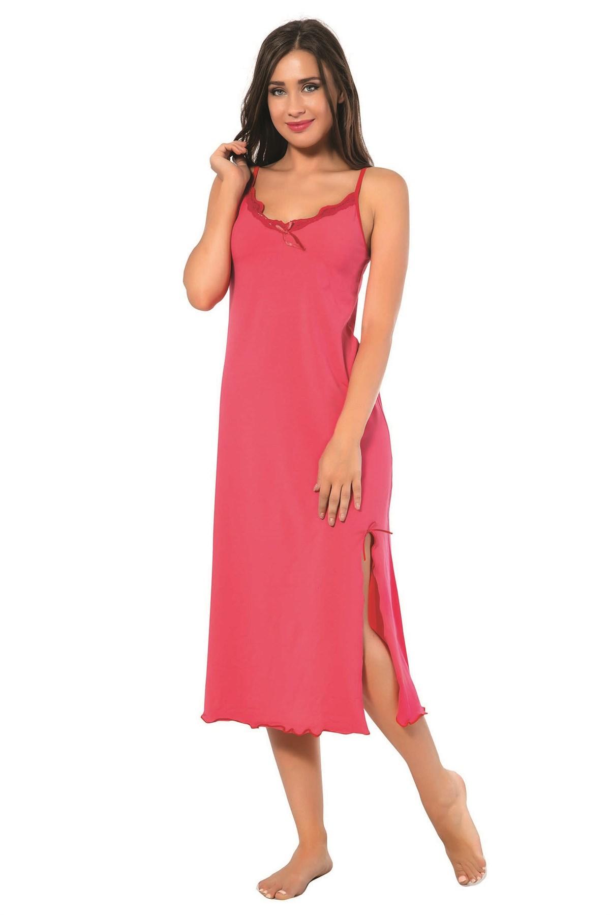 Moda Çizgi Bayan İp Askılı Uzun Gecelik 902
